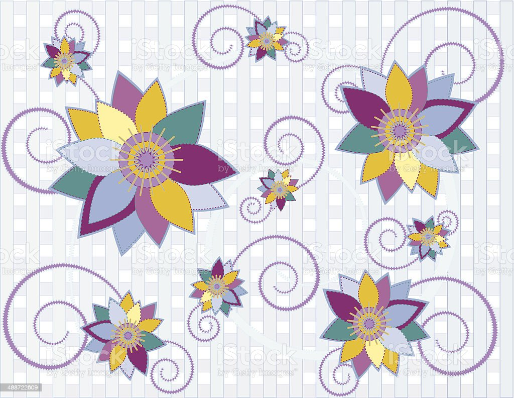 Country Style Quilted Floral Design with Optional Background vector art illustration