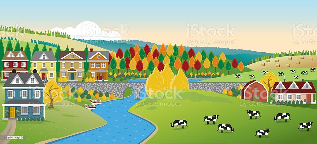 Country Town Panorama vector art illustration