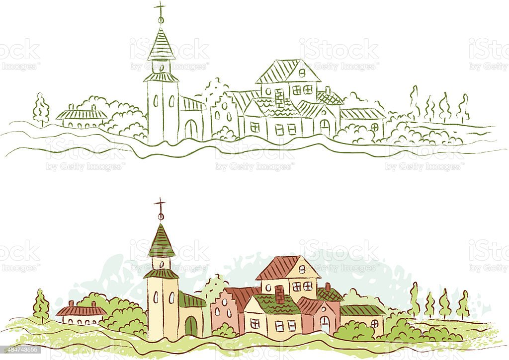 country town vector art illustration