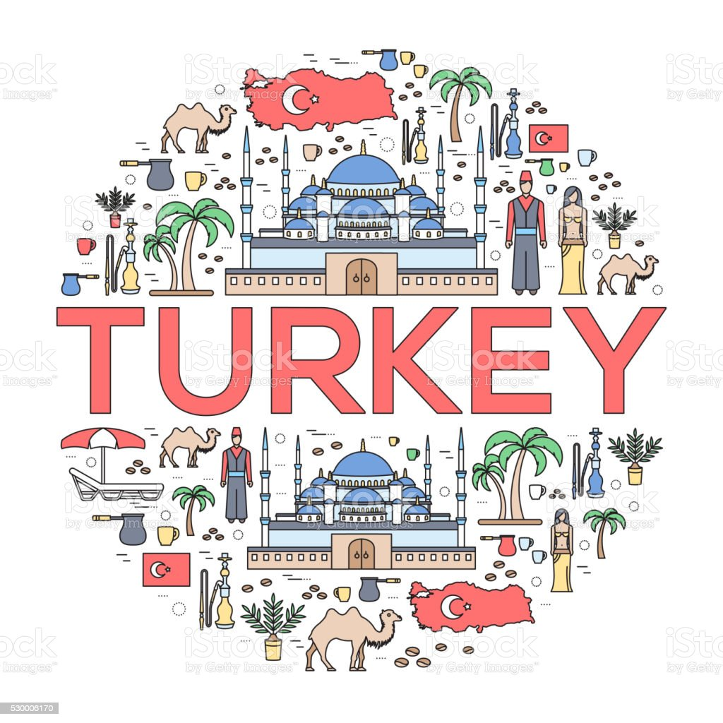 Country Turkey travel vacation guide of goods, places and features vector art illustration