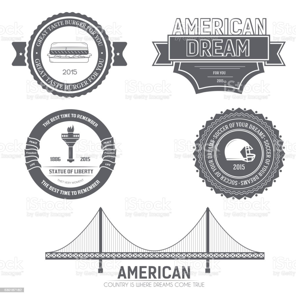Country USA Country England label template of emblem vector art illustration