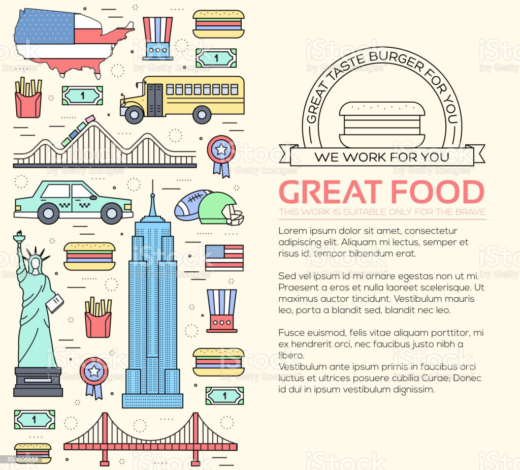 Country USA travel vacation guide of goods, places and features vector art illustration