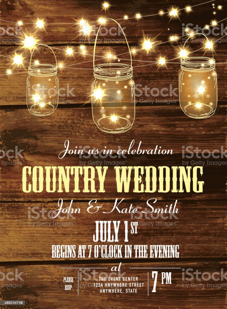 Country wedding invitation design template jar and string lights vector art illustration