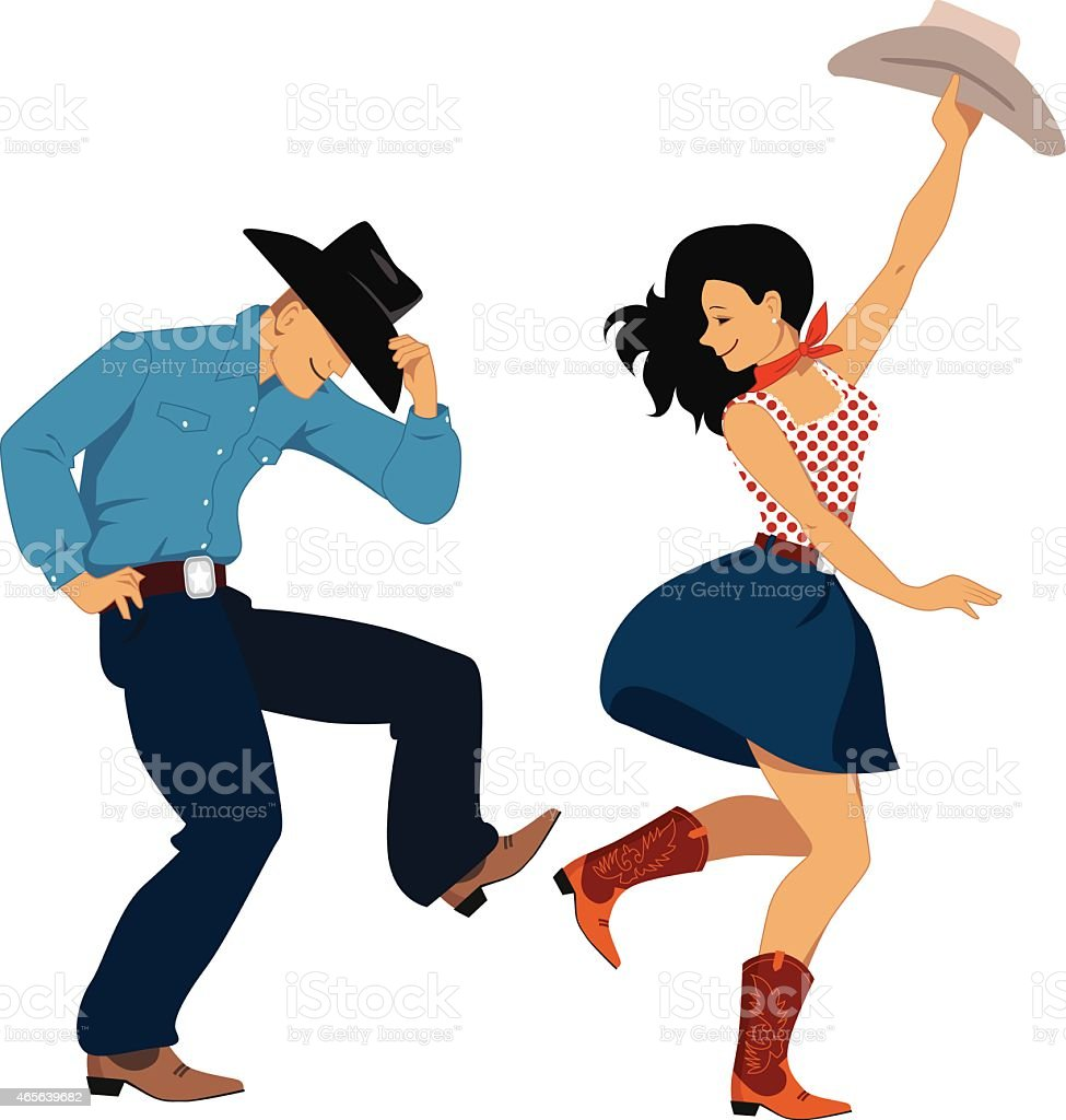 Country western dancers vector art illustration