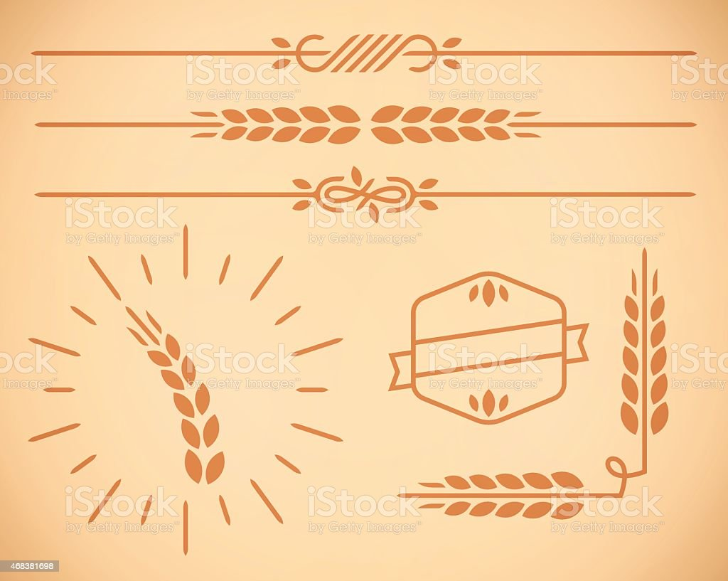 Country Wheat Natural Border and Design Elements vector art illustration