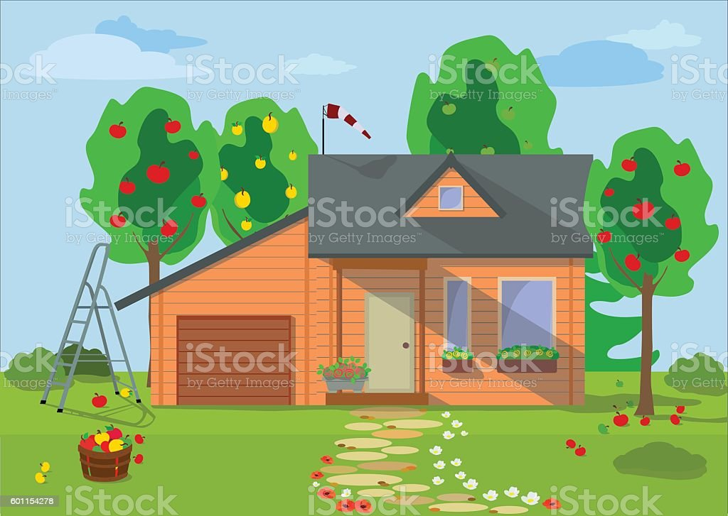 Country wooden eco house with fruit trees. Vector illustration. vector art illustration