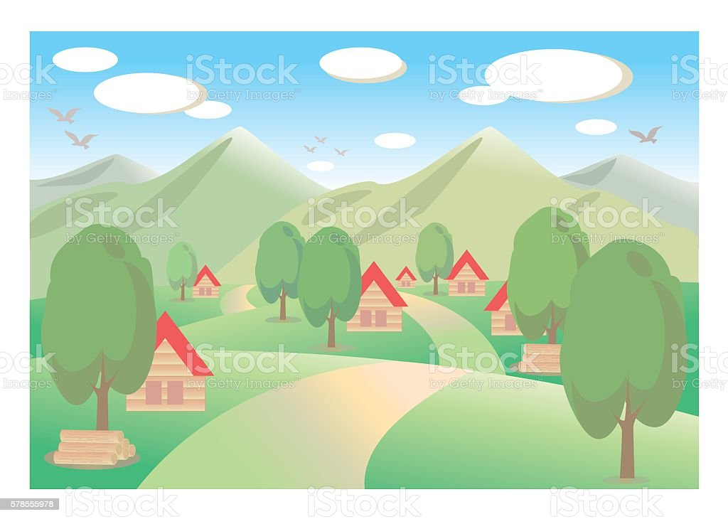 Countryside background vector art illustration