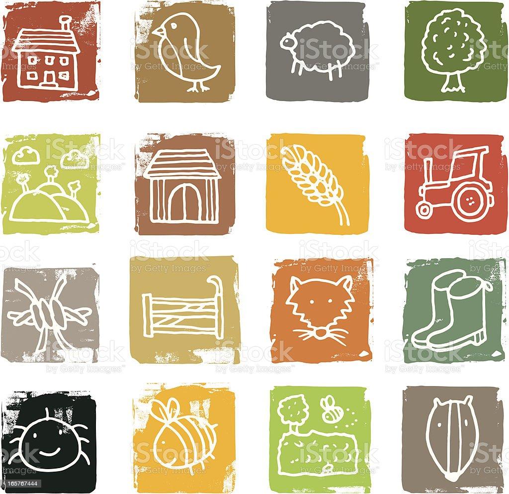 Countryside block icon set vector art illustration
