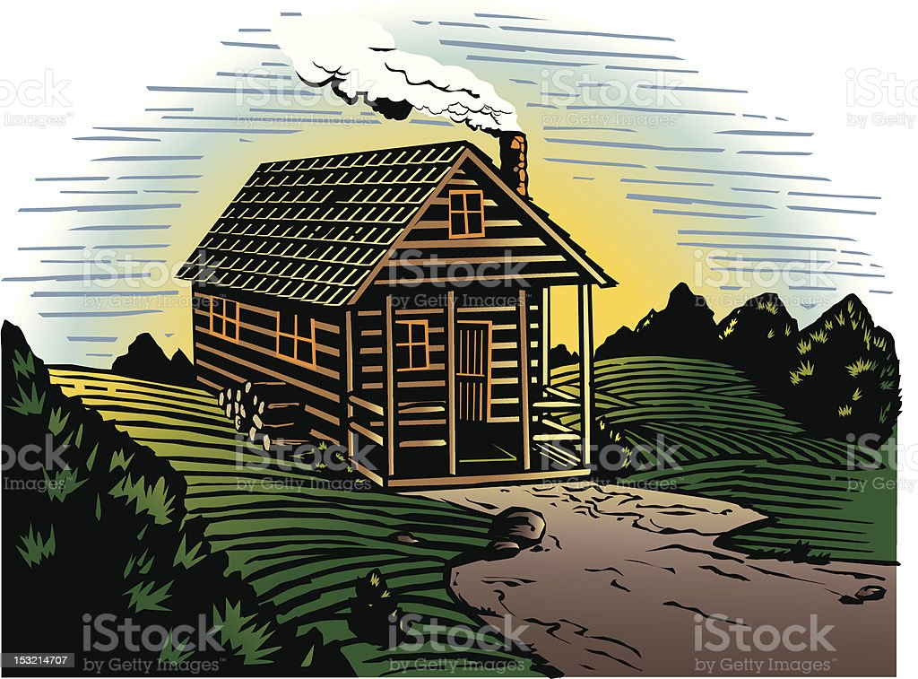 Countryside Cabin vector art illustration
