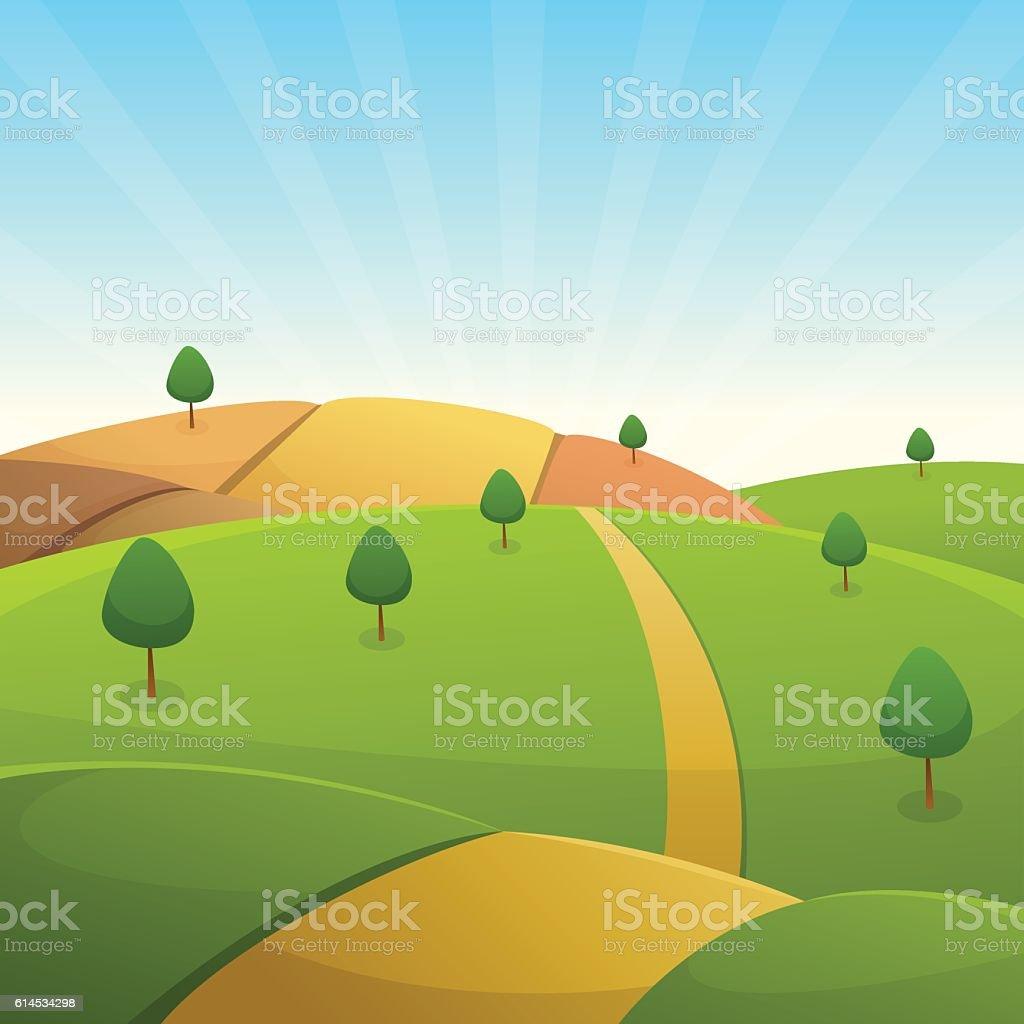 Countryside Cartoon Landscape vector art illustration