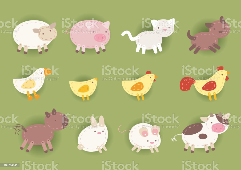 countryside cloth animals chicken cow horse dog cat pig rabbit royalty-free stock vector art
