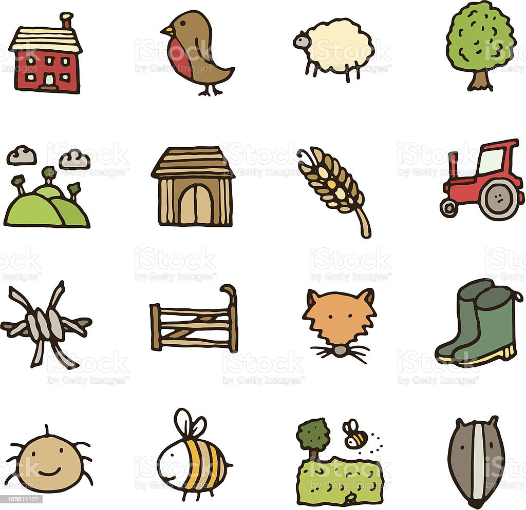 Countryside doodle icon set vector art illustration