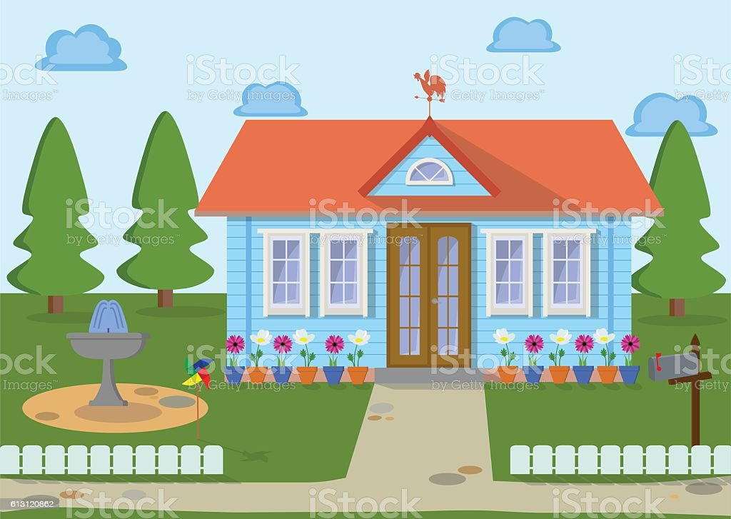 Countryside family eco house on the nature. Vector illustration. vector art illustration