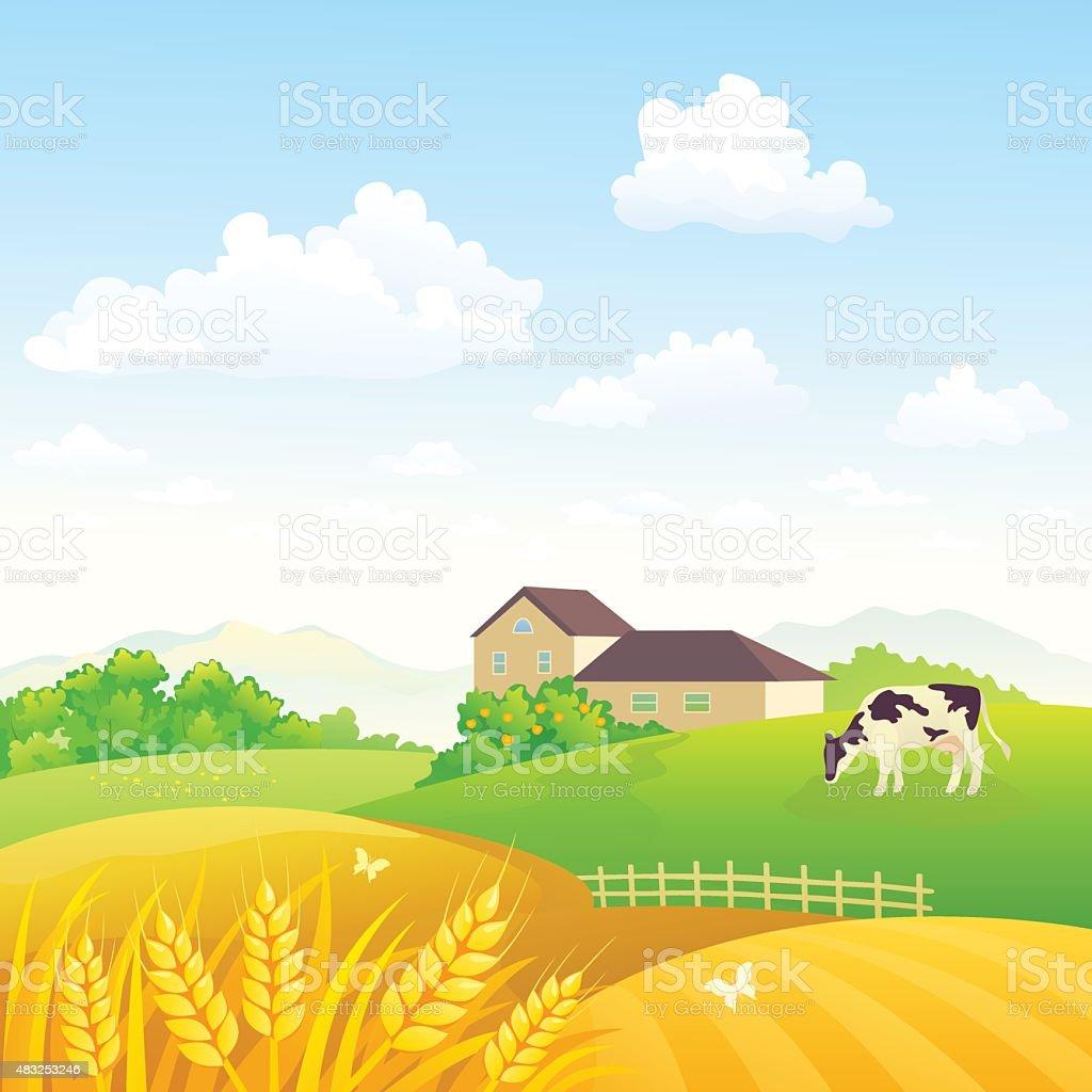 Countryside fields vector art illustration