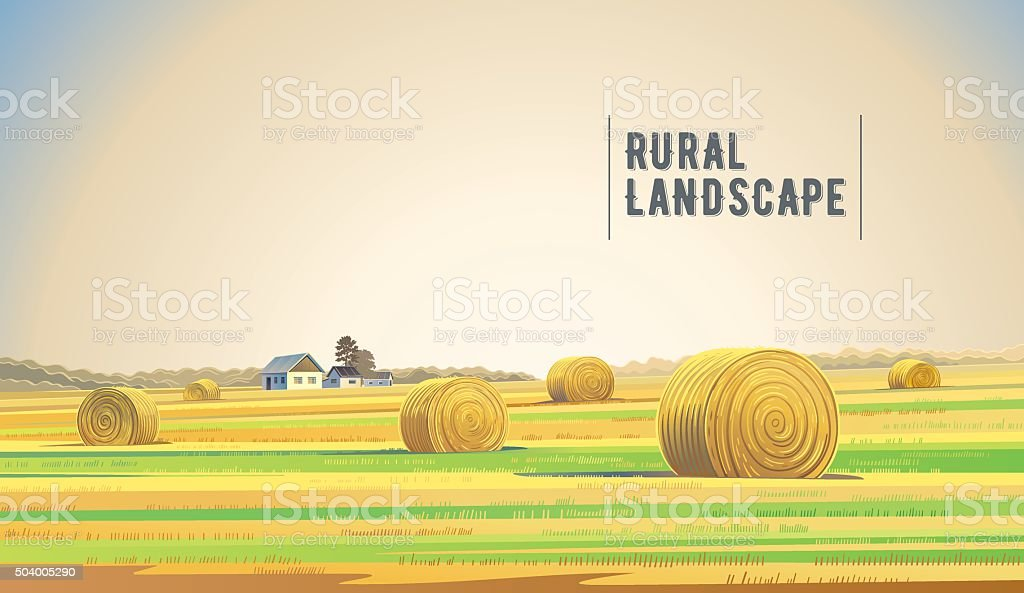Countryside landscape with field. vector art illustration