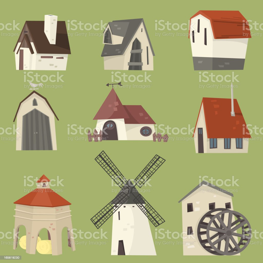 Countryside rural granary storehouse shelter cabin farm houses vector art illustration