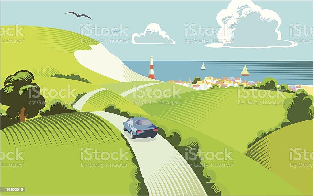 Countryside scene vector art illustration