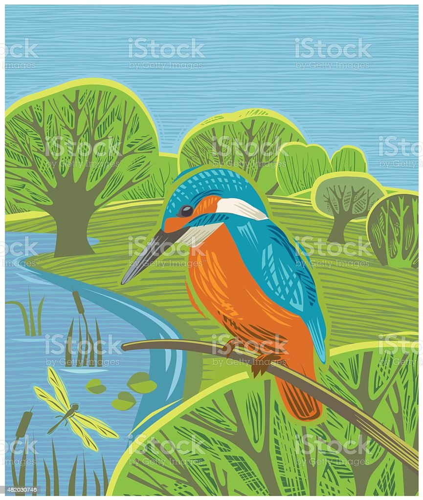 Countryside scene with Kingfisher vector art illustration