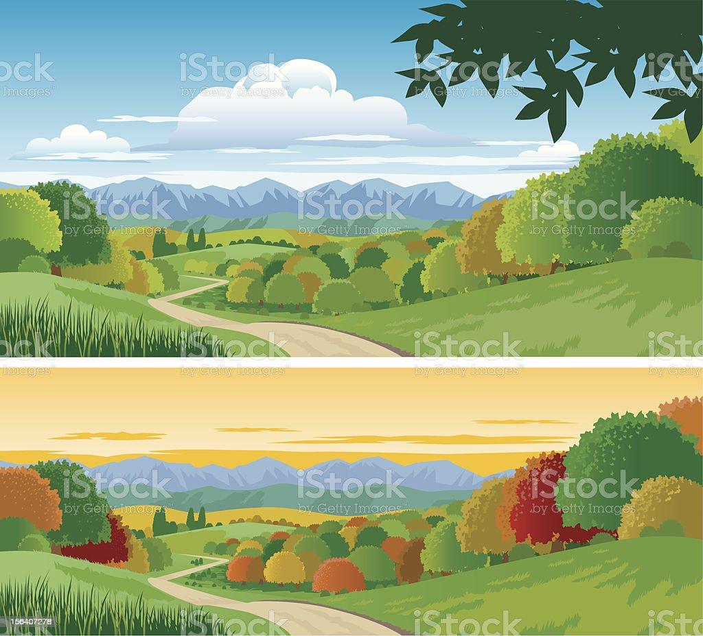 Countryside vector art illustration