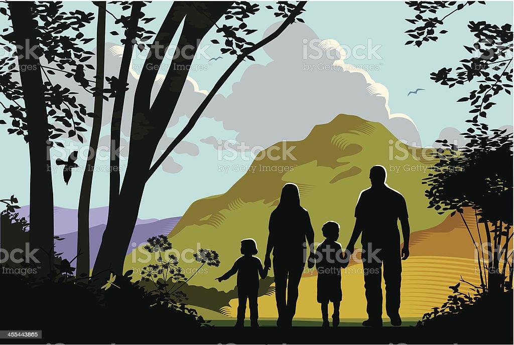 Countryside walk royalty-free stock vector art
