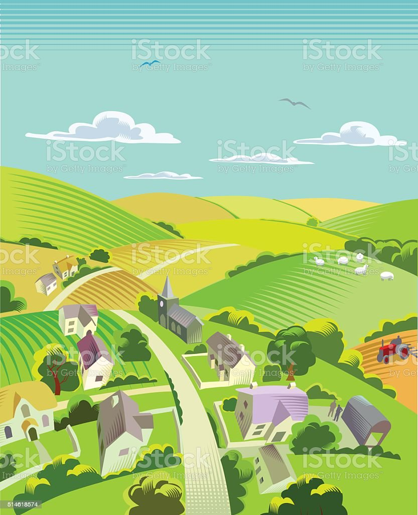 Countryside with village vector art illustration