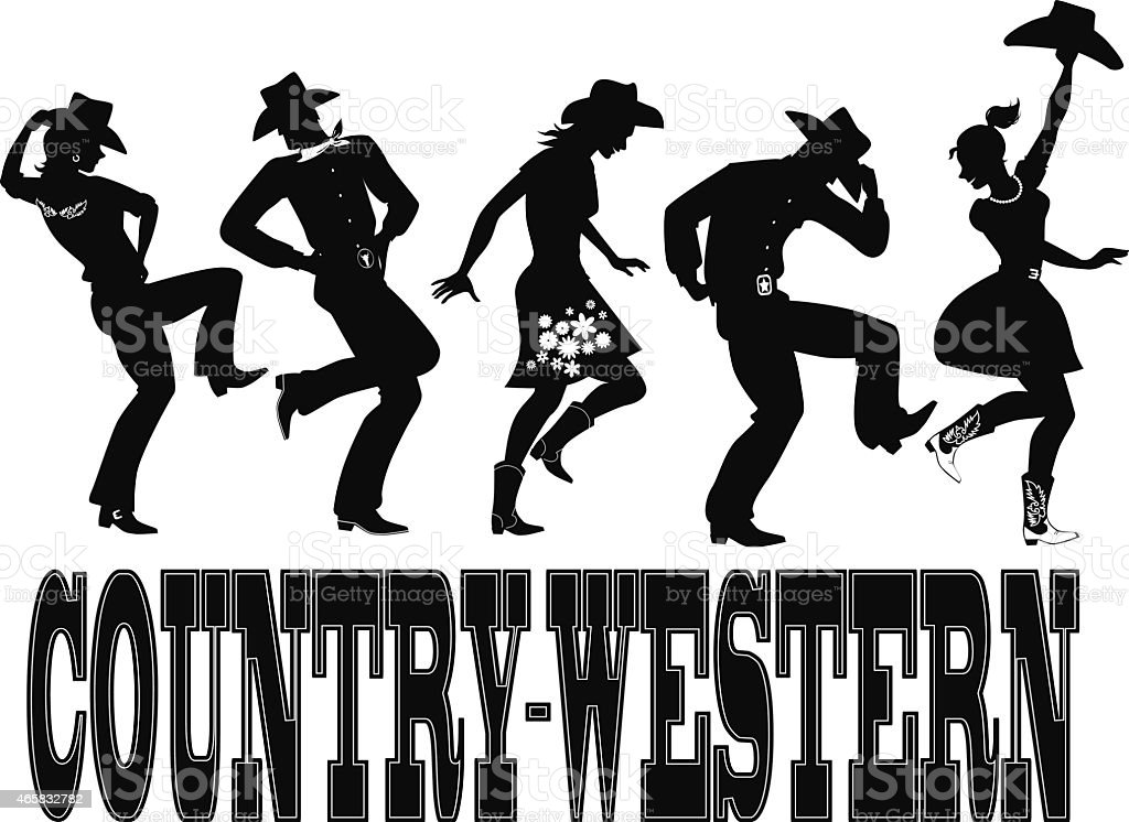 Country-western dance silhouette banner vector art illustration