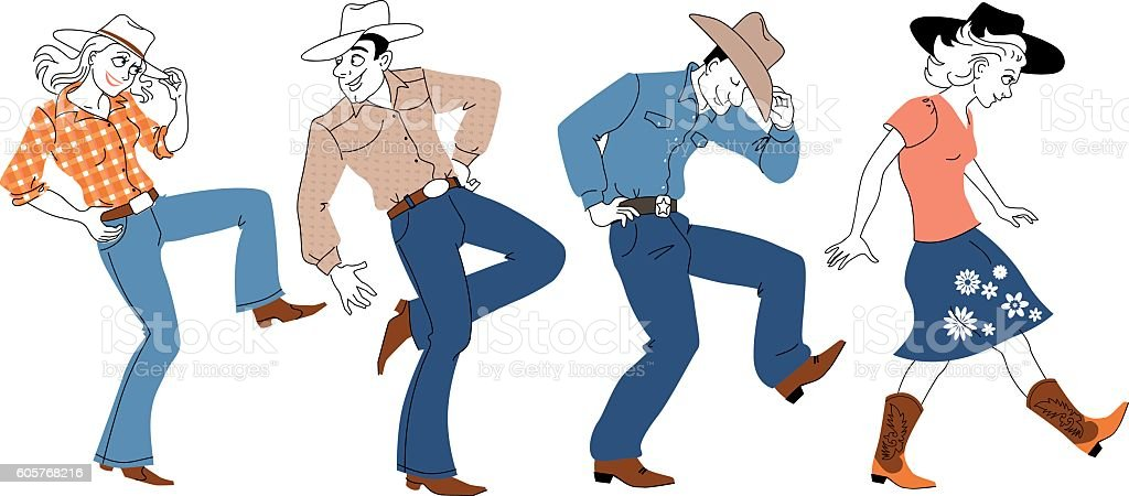 Country-western dancers vector art illustration