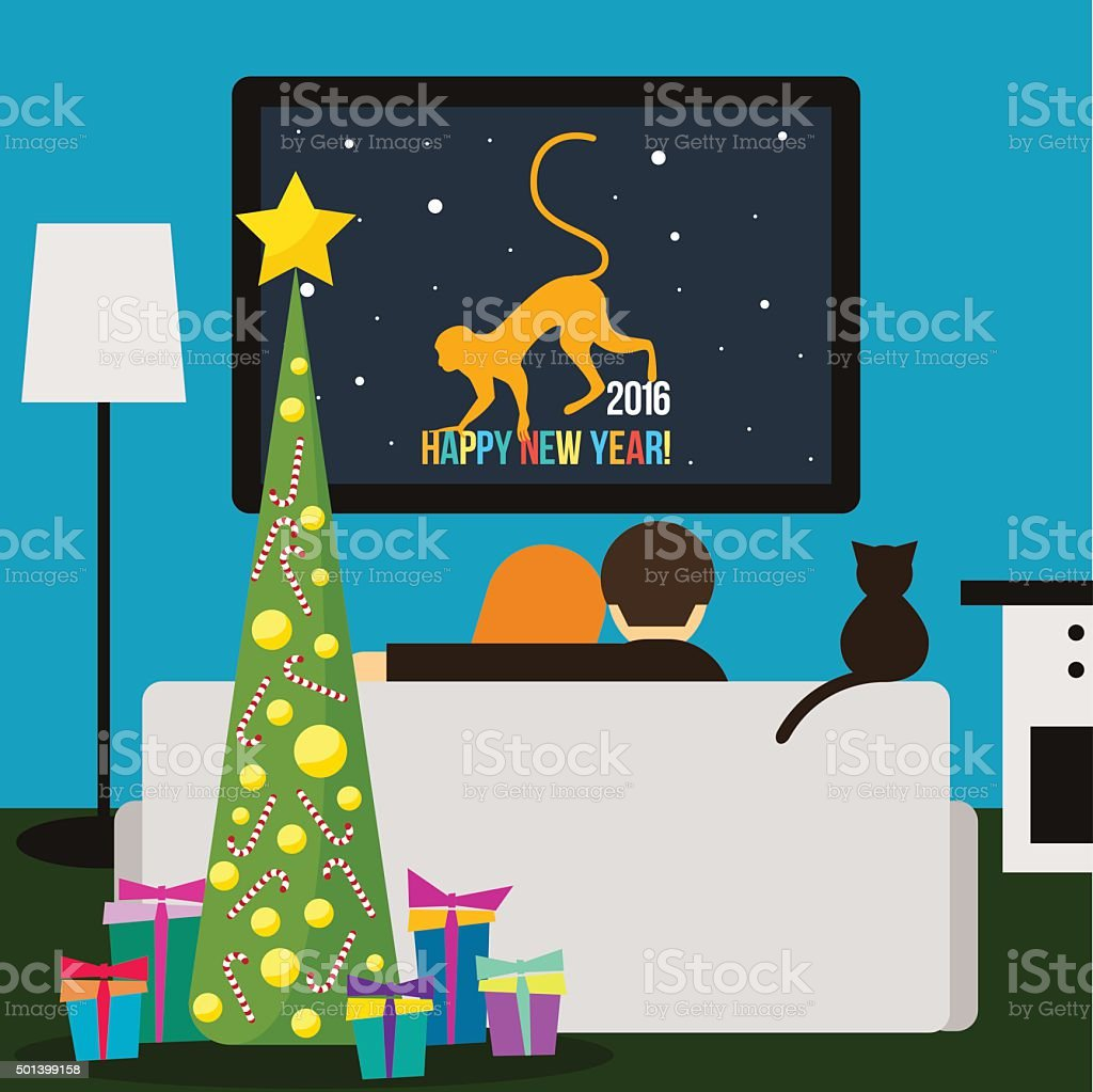 couple and cat watching television. Happy New Year card template vector art illustration