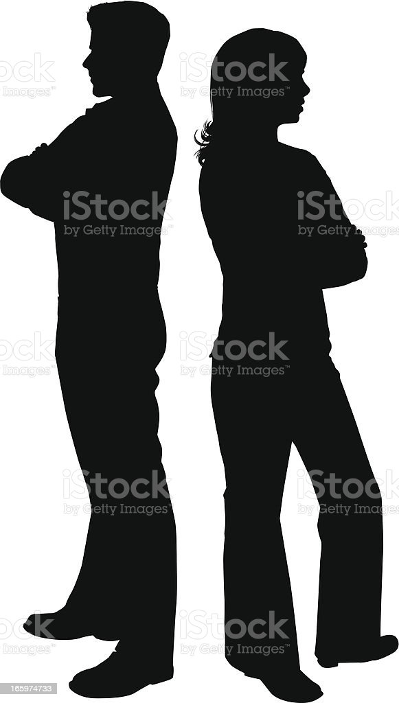 Couple are arguing, and have their backs toward each other vector art illustration