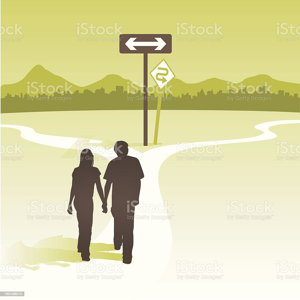 couple at cross roads vector art illustration