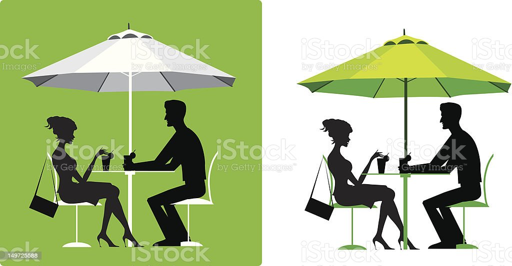 Couple at outdoor cafe royalty-free stock vector art