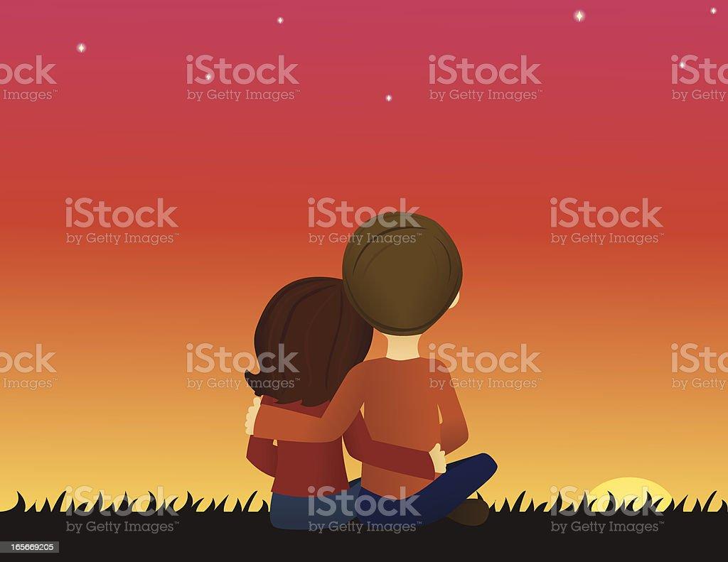 Couple at Sunset vector art illustration