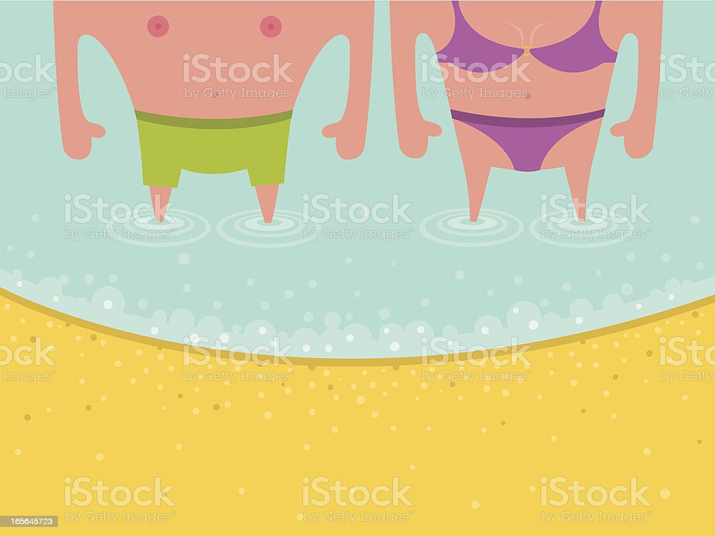 Couple at the Beach royalty-free stock vector art