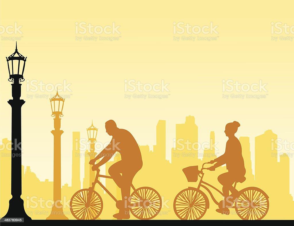 Couple bike ride on the street silhouette vector art illustration