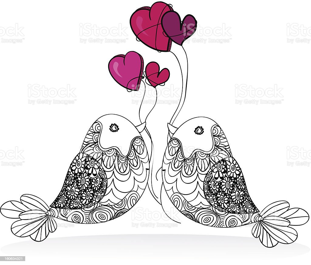 Couple birds valentines love royalty-free stock vector art