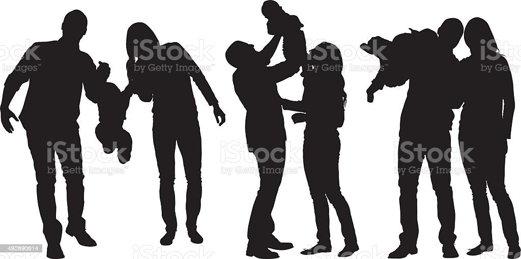 Couple bonding with their baby vector art illustration