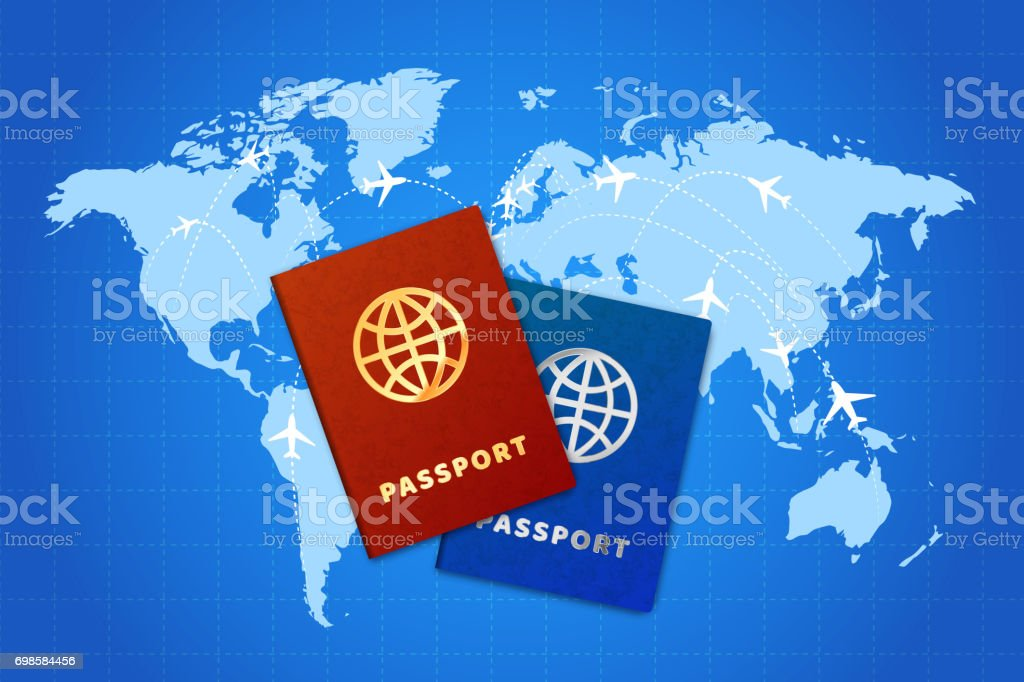 Couple bright passports on world map with airline routes vector art illustration
