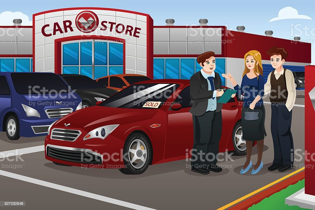 Couple Buying New Car vector art illustration