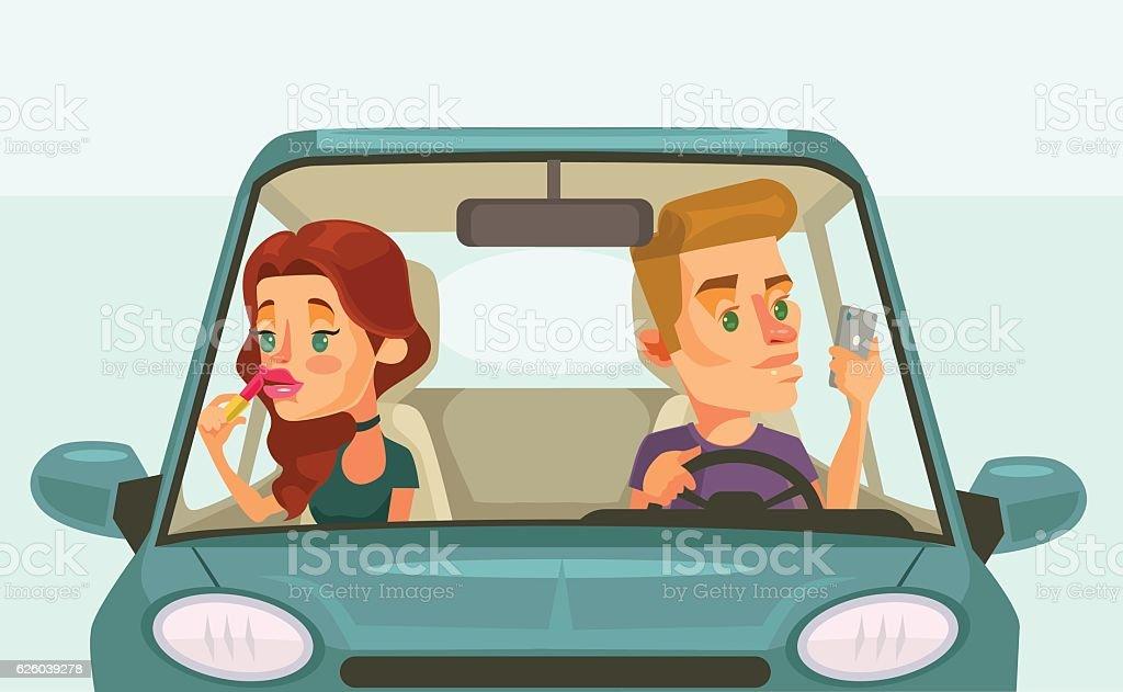 Couple car driving. Careless driver character vector art illustration