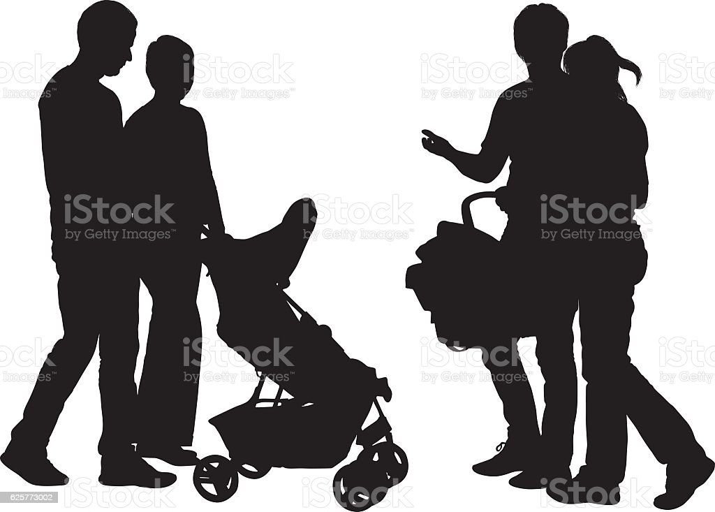 Couple carrying baby stroller vector art illustration