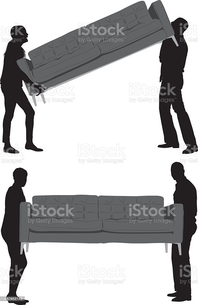 Couple carrying couch vector art illustration