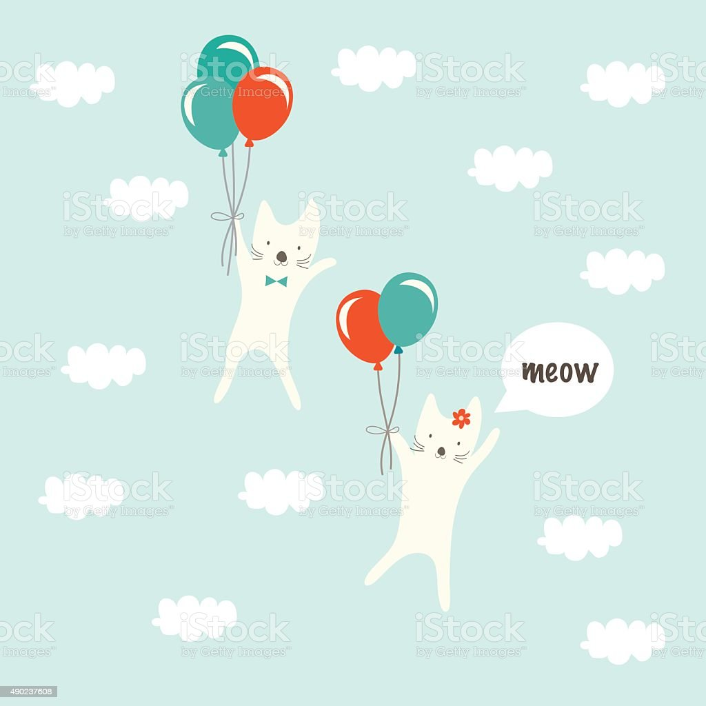 Couple cats up in the sky with balloon. vector art illustration