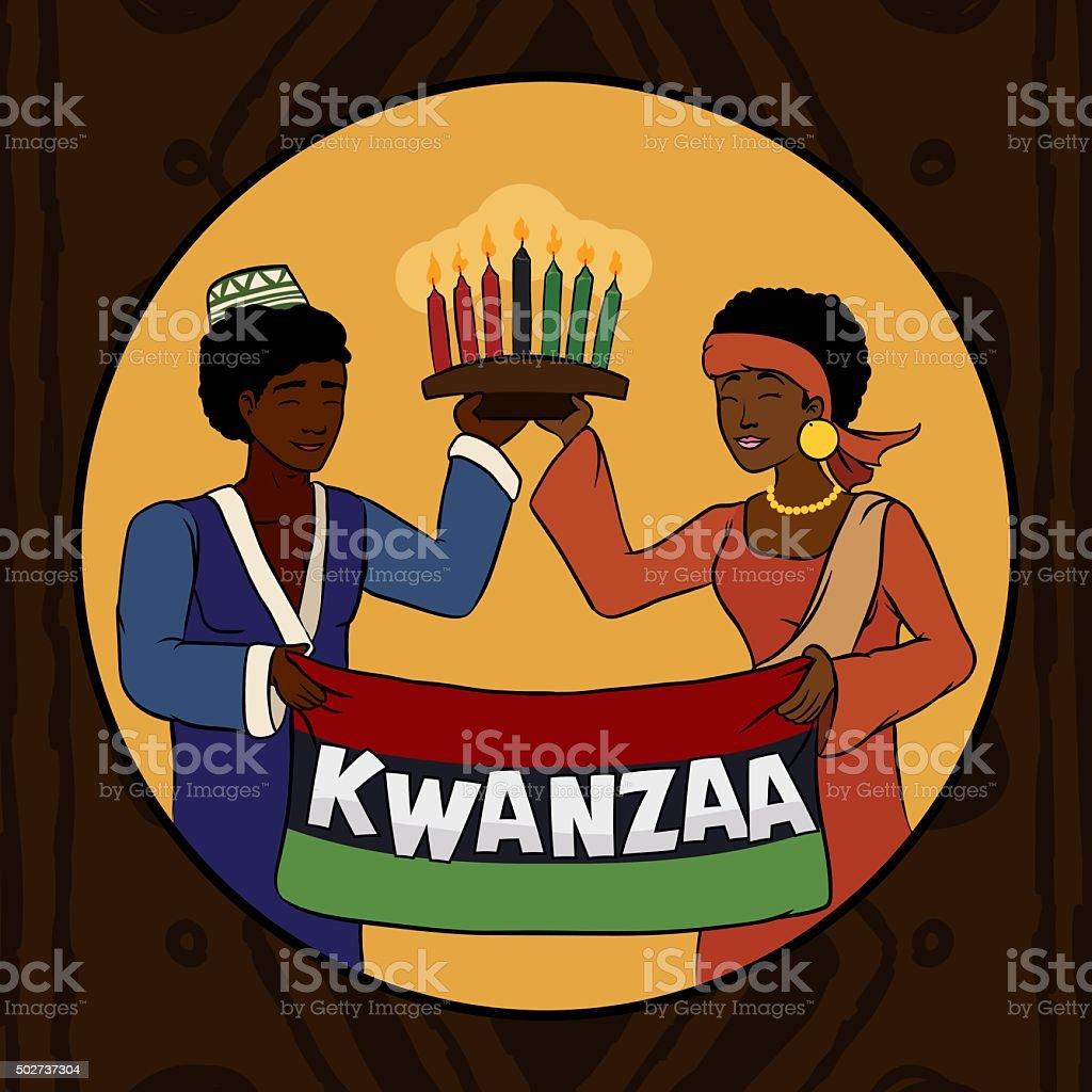 Couple Celebrating Kwanzaa Holidays. vector art illustration