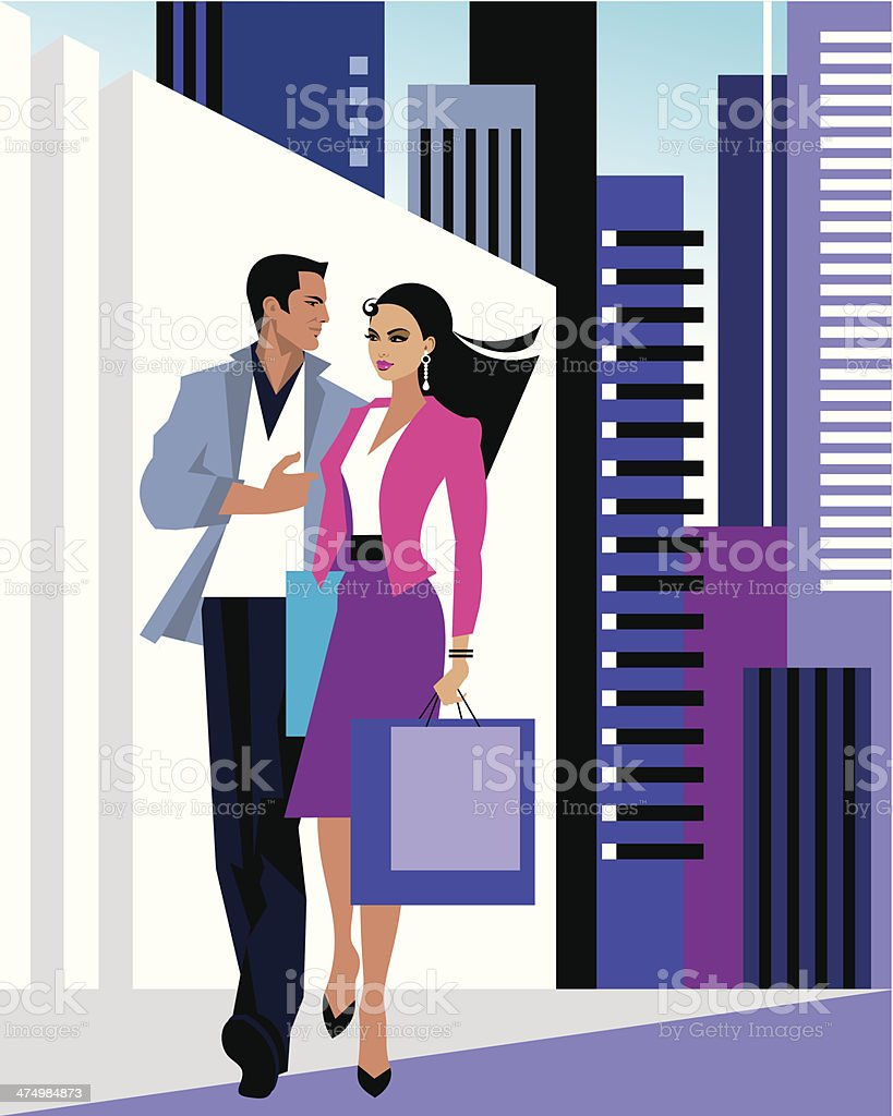 Couple City C vector art illustration