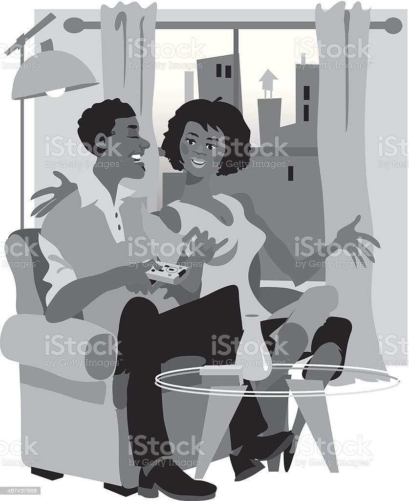 Couple Couch royalty-free stock vector art