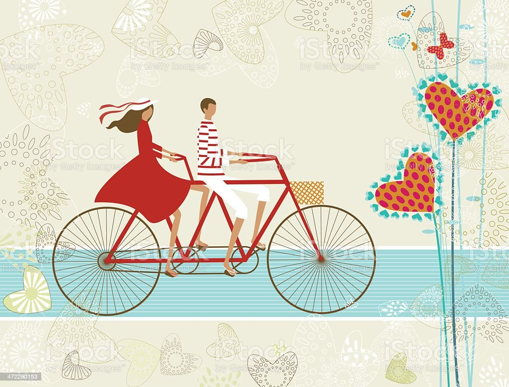 Couple cycling valentine's card royalty-free stock vector art