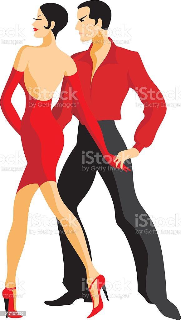 Couple dances a tango vector art illustration