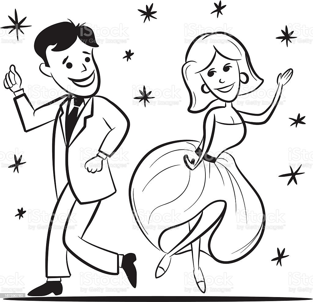Couple Dancing - Retro Cartoon royalty-free stock vector art