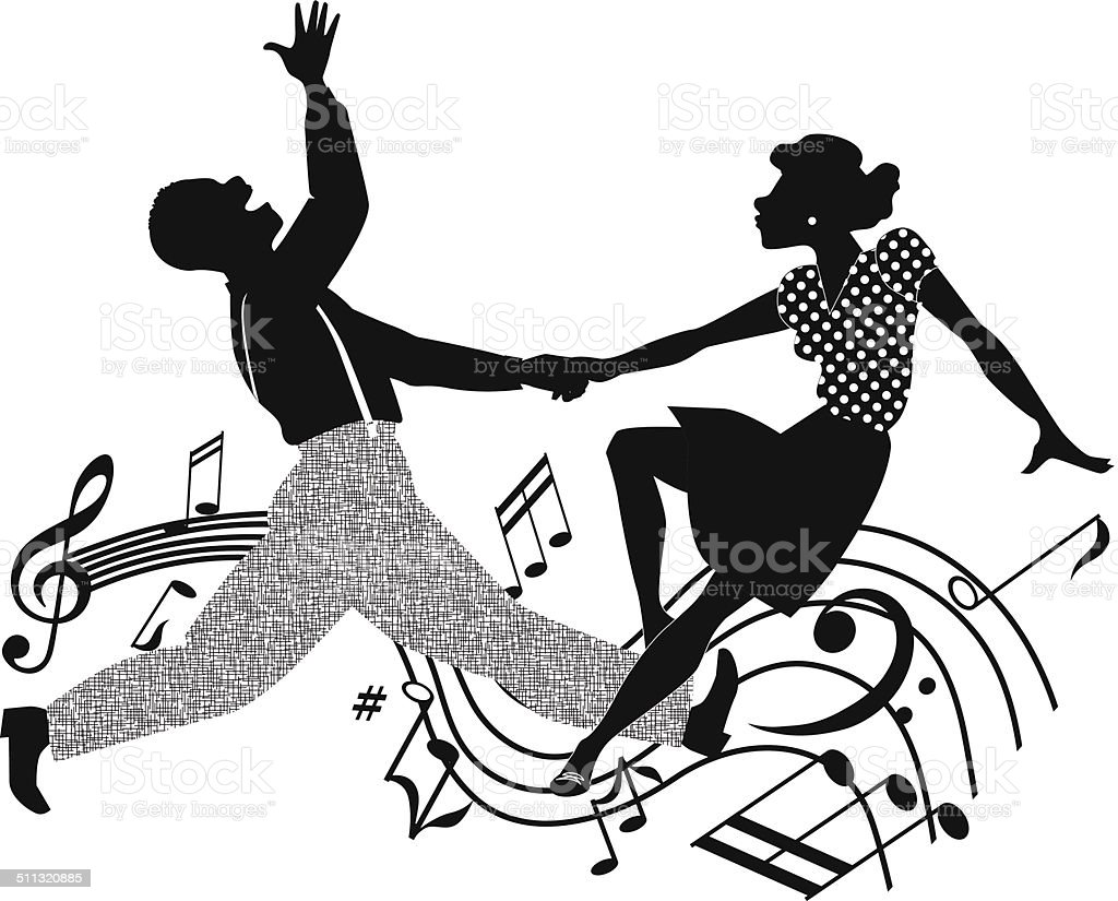 Couple dancing rock and roll in black and white vector art illustration
