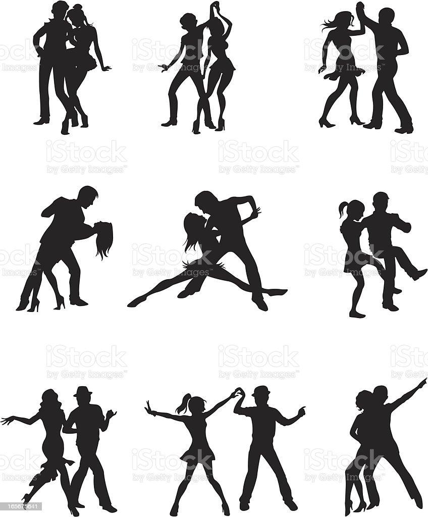 Couple dancing together vector art illustration